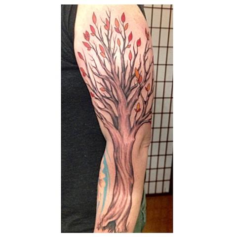 Tree, Provincetown tattoo, Cape Cod tattoo, Ptown tattoo, truro tattoo, wellfleet tattoo, custom tattoo, coastline tattoo