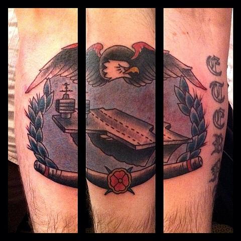 Charles Rouse - military, navy ship tattoo, Provincetown tattoo, Cape Cod tattoo, Ptown tattoo, truro tattoo, wellfleet tattoo, custom tattoo, coastline tattoo