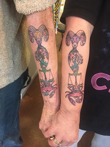 aries tattoo, libra tattoo, cancer tattoo, virgo tattoo, zodiac tattoo, Provincetown tattoo, Cape Cod tattoo, Ptown tattoo, truro, wellfleet, custom tattoo, coastline tattoo