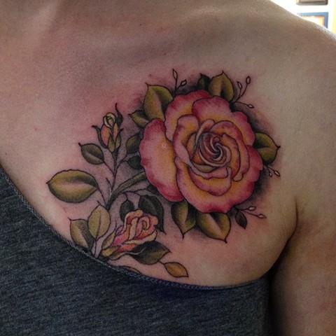 pink rose tattoo, roses, floral tattoo, flower tattoo,  Provincetown tattoo, Cape Cod tattoo, Ptown tattoo, truro, wellfleet, custom tattoo, coastline tattoo