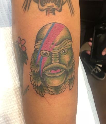 david bowie, the creature from the black lagoon, swamp, monster, Provincetown tattoo, Cape Cod tattoo, Ptown tattoo, truro, wellfleet, custom tattoo, coastline tattoo