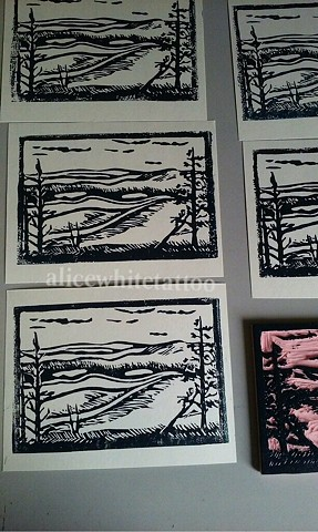 adventure postcards, wood block print, art, printmaking, Provincetown tattoo, Cape Cod tattoo, Ptown tattoo, truro, wellfleet, custom tattoo, coastline tattoo