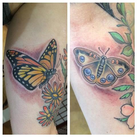 butterfly tattoo, moth tattoo, Provincetown tattoo, Cape Cod tattoo, Ptown tattoo, truro, wellfleet, custom tattoo, coastline tattoo