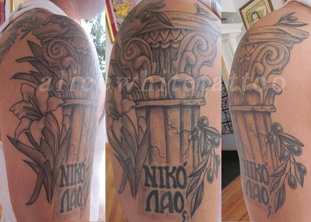 Alice White - Black and grey greek tattoo, Provincetown tattoo, Cape Cod tattoo, Ptown tattoo, truro tattoo, wellfleet tattoo, custom tattoo, coastline tattoo