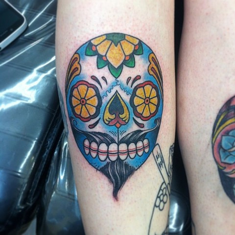 Charles Rouse - bearded sugar skull tattoo,  Provincetown tattoo, Cape Cod tattoo, Ptown tattoo, truro tattoo, wellfleet tattoo, custom tattoo, coastline tattoo