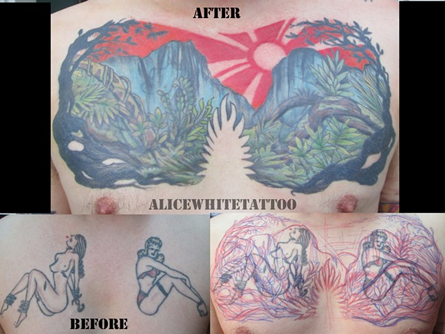 Alice White - Landscape cover-up tattoo, Provincetown tattoo, Cape Cod tattoo, Ptown tattoo, truro tattoo, wellfleet tattoo, custom tattoo, coastline tattoo