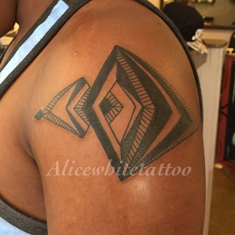 Geometric Tattoo, Provincetown tattoo, Cape Cod tattoo, Ptown tattoo, truro tattoo, wellfleet tattoo, custom tattoo, coastline tattoo
