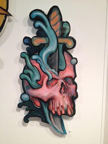 skull dagger, acrylic on wood, cutout, 2' high, art, painting, Provincetown, Cape Cod, Coastline, Ptown