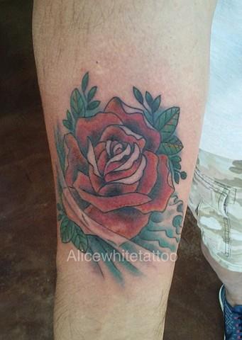 rose tattoo, flower tattoo, floral tattoo, water tattoo, Provincetown tattoo, Cape Cod tattoo, Ptown tattoo, truro, wellfleet, custom tattoo, coastline tattoo