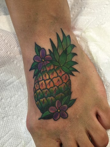 pineapple tattoo, flower tattoo, tropical tattoo, Provincetown tattoo, Cape Cod tattoo, Ptown tattoo, truro, wellfleet, custom tattoo, coastline tattoo