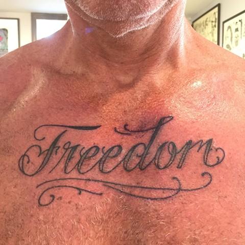 freedom tattoo, lettering, Provincetown tattoo, Cape Cod tattoo, Ptown tattoo, truro, wellfleet, custom tattoo, coastline tattoo