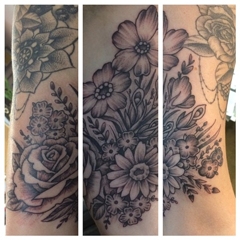 flower tattoo, rose tattoo, Provincetown tattoo, Cape Cod tattoo, Ptown tattoo, truro, wellfleet, custom tattoo, coastline tattoo