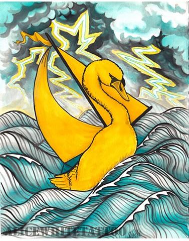 Alice White - Swan Boat, watercolor painting, Provincetown tattoo, Cape Cod tattoo, Ptown tattoo, truro tattoo, wellfleet tattoo, custom tattoo, coastline tattoo