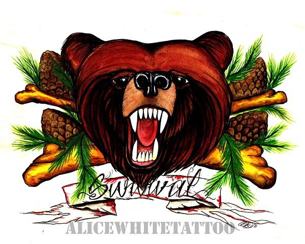 Alive White - Survival, watercolor painting, art, Provincetown tattoo, Cape Cod tattoo, Ptown tattoo, truro tattoo, wellfleet tattoo, custom tattoo, coastline tattoo