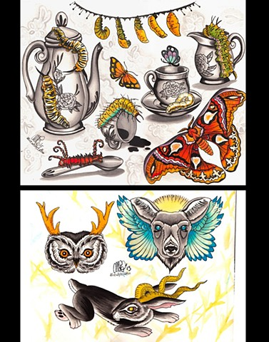 Alice White - Tea Party and Jackalopes, watercolor painting, Provincetown tattoo, Cape Cod tattoo, Ptown tattoo, truro tattoo, wellfleet tattoo, custom tattoo, coastline tattoo