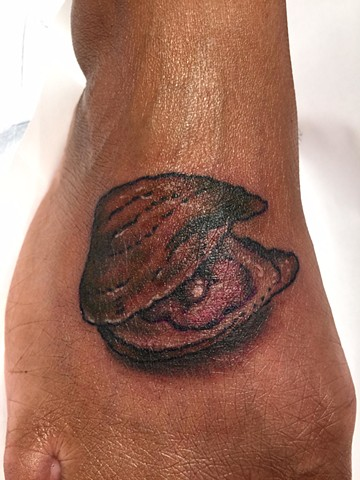 oyster tattoo, Provincetown tattoo, Cape Cod tattoo, Ptown tattoo, truro, wellfleet, custom tattoo, coastline tattoo