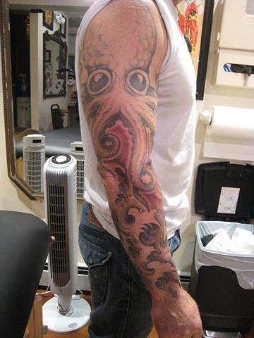 octopus, custom tattoo, Provincetown, Cape Cod, Coastline, Ptown