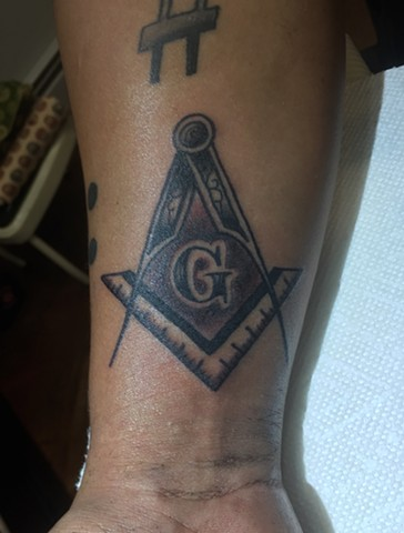 masonic symbol, masonic tattoo, Provincetown tattoo, Cape Cod tattoo, Ptown tattoo, truro, wellfleet, custom tattoo, coastline tattoo