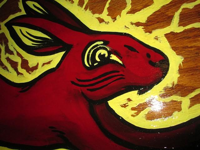 Alice White - Red Rabbit, painting, Provincetown tattoo, Cape Cod tattoo, Ptown tattoo, truro tattoo, wellfleet tattoo, custom tattoo, coastline tattoo