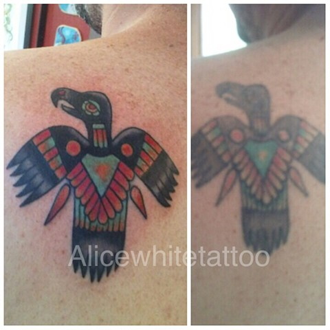 eagle tattoo, tribal tattoo, Provincetown tattoo, Cape Cod tattoo, Ptown tattoo, truro, wellfleet, custom tattoo, coastline tattoo