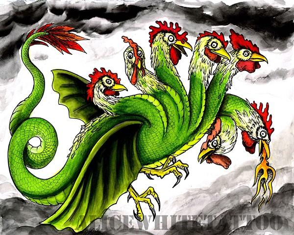 Alice White - 7 Headed Chicken Dragon, Provincetown tattoo, Cape Cod tattoo, Ptown tattoo, truro tattoo, wellfleet tattoo, custom tattoo, coastline tattoo
