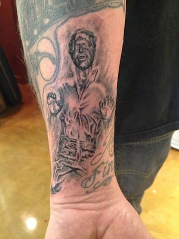 han solo frozen in carbonite, star wars, Provincetown tattoo, Cape Cod tattoo, Ptown tattoo, truro tattoo, wellfleet tattoo, custom tattoo, coastline tattoo