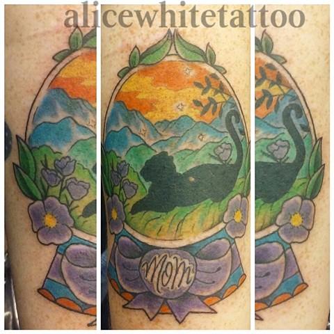 snow globe tattoo, panther tattoo, memorial tattoo, Provincetown tattoo, Cape Cod tattoo, Ptown tattoo, truro, wellfleet, custom tattoo, coastline tattoo