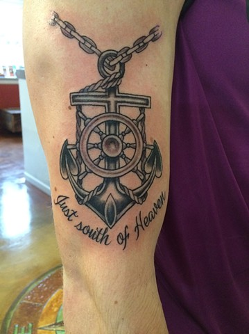 mariner's cross, nautical tattoo, anchor tattoo, ship wheel tattoo, cross tattoo, Provincetown tattoo, Cape Cod tattoo, Ptown tattoo, truro, wellfleet, custom tattoo, coastline tattoo