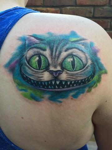 Cheshire Cat Tattoo, cat tattoo, alice in wonderland tattoo, Provincetown tattoo, Cape Cod tattoo, Ptown tattoo, truro, wellfleet, custom tattoo, coastline tattoo