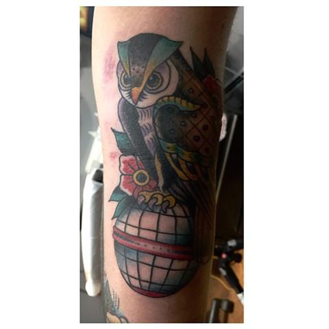 traditional owl tattoo, tattoo, Provincetown tattoo, Cape Cod tattoo, Ptown tattoo, truro, wellfleet, custom tattoo, coastline tattoo