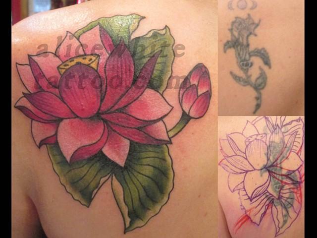 Alice White - lotus lily cover up, custom tattoo, Provincetown tattoo, Cape Cod tattoo, Coastline tattoo, Ptown tattoo