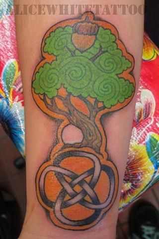 Alice White - Celtic Tree, Provincetown tattoo, Cape Cod tattoo, Ptown tattoo, truro tattoo, wellfleet tattoo, custom tattoo, coastline tattoo