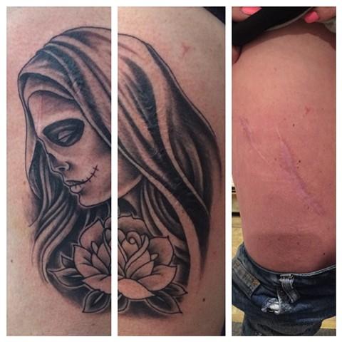 virgin mary, sugar skull tattoo, Provincetown tattoo, Cape Cod tattoo, Ptown tattoo, truro, wellfleet, custom tattoo, coastline tattoo