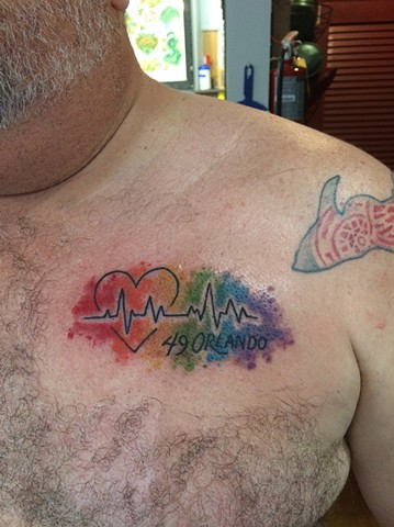 pulse tattoo, memorial tattoo, rainbow tattoo, Provincetown tattoo, Cape Cod tattoo, Ptown tattoo, truro, wellfleet, custom tattoo, coastline tattoo