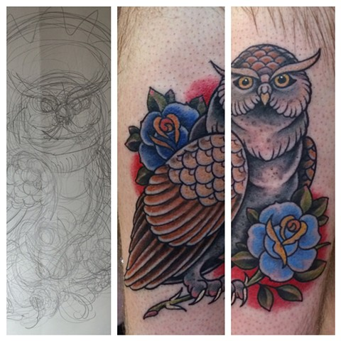 owl tattoo, Provincetown tattoo, Cape Cod tattoo, Ptown tattoo, truro, wellfleet, custom tattoo, coastline tattoo