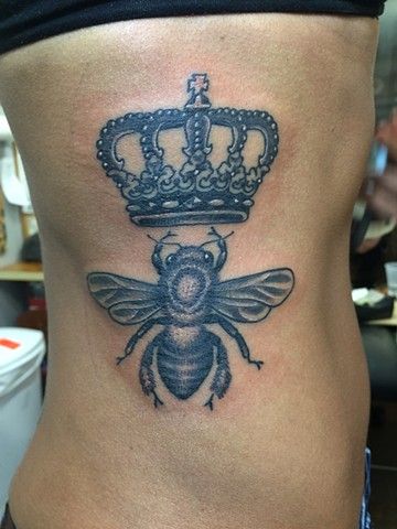 Bee, crown, crest, rib tattoo, Provincetown tattoo, Cape Cod tattoo, Ptown tattoo, truro, wellfleet, custom tattoo, coastline tattoo
