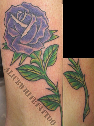 Alice White - Purple rose tattoos, flower tattoo, floral tattoo, Provincetown tattoo, Cape Cod tattoo, Ptown tattoo, truro tattoo, wellfleet tattoo, custom tattoo, coastline tattoo