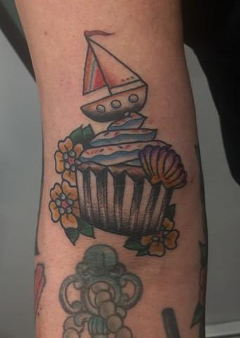nautical tattoo, cupcake tattoo, Provincetown tattoo, Cape Cod tattoo, Ptown tattoo, truro, wellfleet, custom tattoo, coastline tattoo