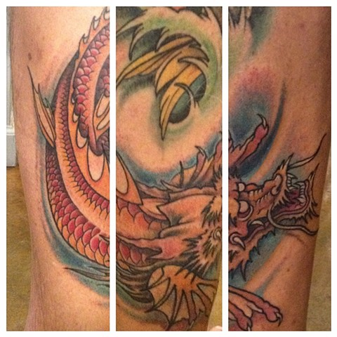 Dragon Koi Tattoo, Provincetown tattoo, Cape Cod tattoo, Ptown tattoo, truro, wellfleet, custom tattoo, coastline tattoo
