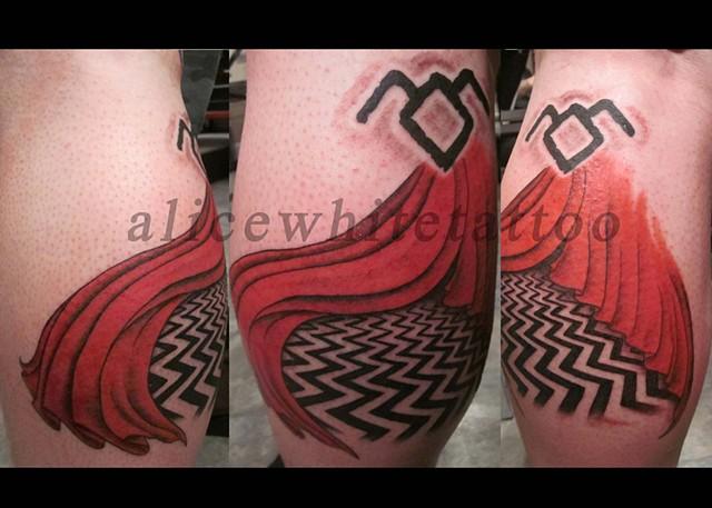 Alice White - Twilight zone weirdness, Provincetown tattoo, Cape Cod tattoo, Ptown tattoo, truro tattoo, wellfleet tattoo, custom tattoo, coastline tattoo