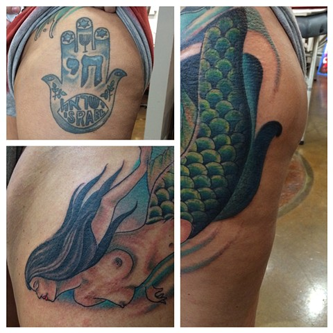 mermaid tattoo, nautical tattoo, cover up tattoo, Provincetown tattoo, Cape Cod tattoo, Ptown tattoo, truro, wellfleet, custom tattoo, coastline tattoo