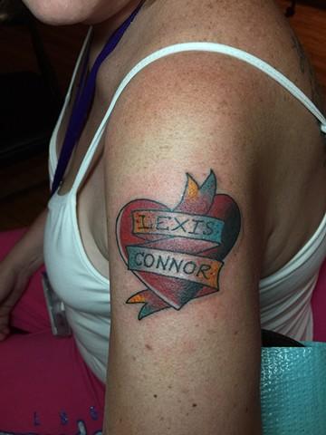 heart tattoo, banner tattoo, Provincetown tattoo, Cape Cod tattoo, Ptown tattoo, truro, wellfleet, custom tattoo, coastline tattoo