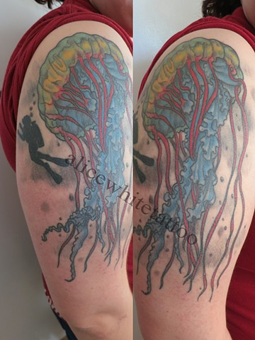 Alice White - Jellyfish and Scuba Diver tattoo, nautical tattoo, Provincetown tattoo, Cape Cod tattoo, Ptown tattoo, truro tattoo, wellfleet tattoo, custom tattoo, coastline tattoo
