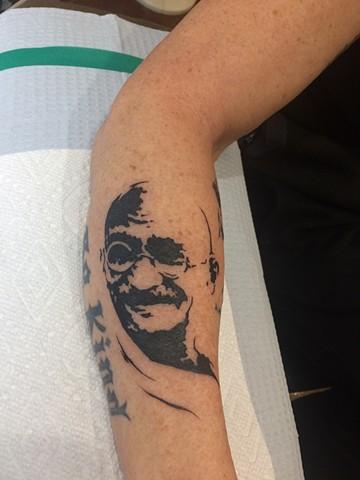 Gandhi, ghandi, peace, Provincetown tattoo, Cape Cod tattoo, Ptown tattoo, truro, wellfleet, custom tattoo, coastline tattoo