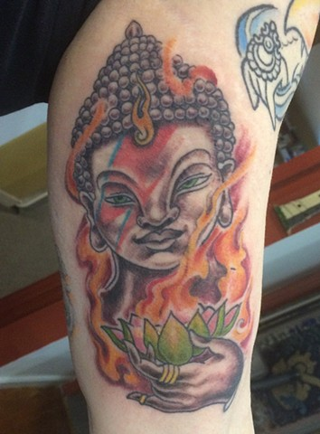 Ziggy Stardust buddha, religious tattoo, Provincetown tattoo, Cape Cod tattoo, Ptown tattoo, truro, wellfleet, custom tattoo, coastline tattoo