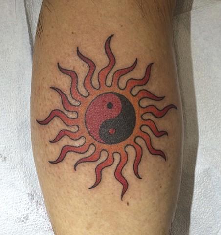 Sun tattoo, yin-yang tattoo, Provincetown tattoo, Cape Cod tattoo, Ptown tattoo, truro, wellfleet, custom tattoo, coastline tattoo