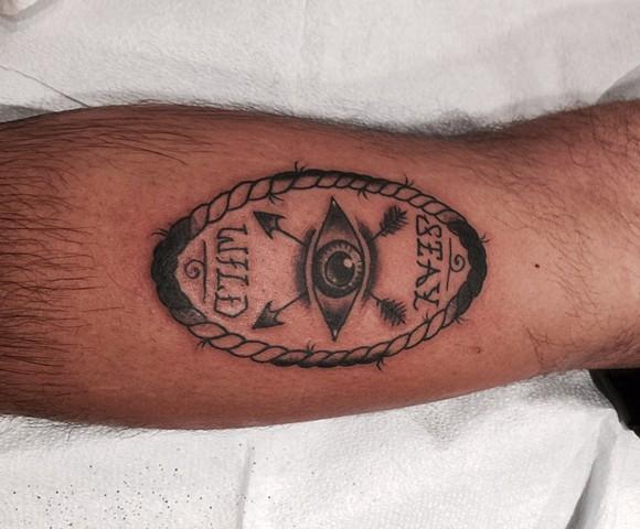 Black and Gray tattoo, eyeball tattoo, rope tattoo, tattoo, lettering, Provincetown tattoo, Cape Cod tattoo, Ptown tattoo, truro, wellfleet, custom tattoo, coastline tattoo