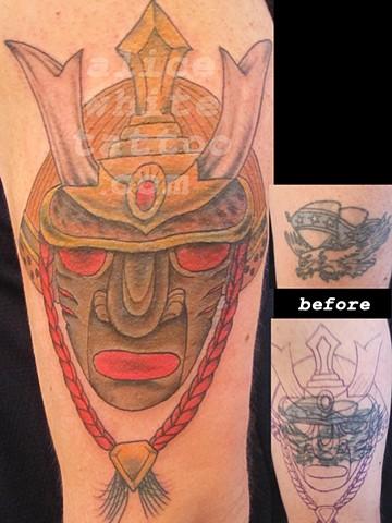 Alice White - Mask cover-up, Provincetown tattoo, Cape Cod tattoo, Ptown tattoo, truro tattoo, wellfleet tattoo, custom tattoo, coastline tattoo