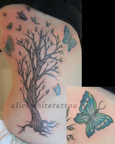 Alice White - Tree and butterfly tattoo, Provincetown tattoo, Cape Cod tattoo, Ptown tattoo, truro tattoo, wellfleet tattoo, custom tattoo, coastline tattoo