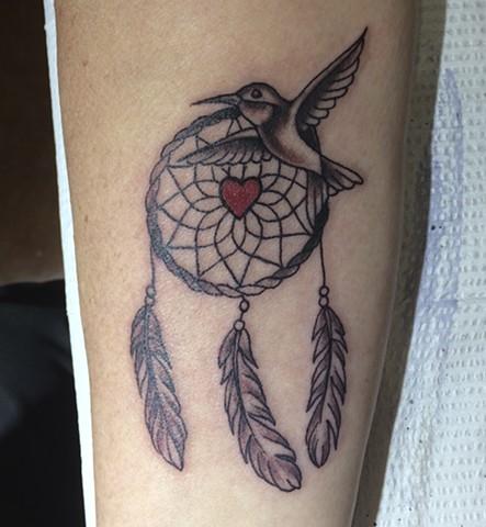 dream catcher tattoo, humming bird tattoo, Provincetown tattoo, Cape Cod tattoo, Ptown tattoo, truro, wellfleet, custom tattoo, coastline tattoo